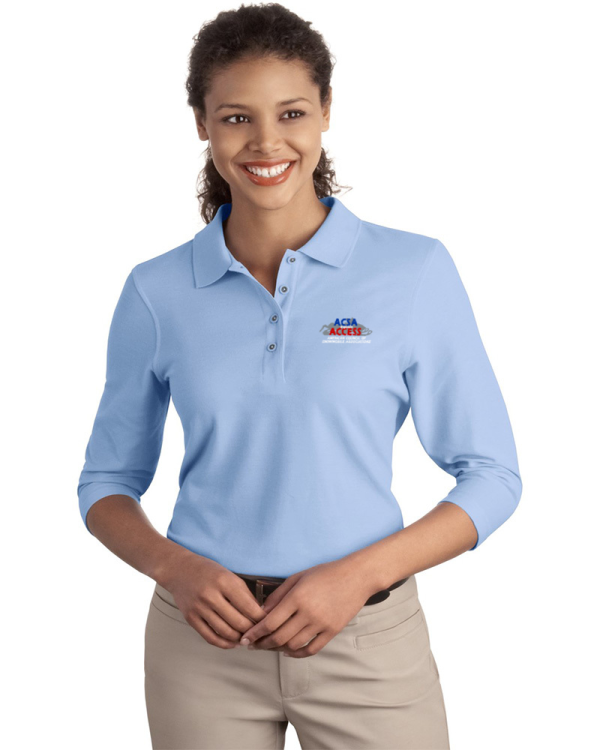 Port Authority Embroidered Women's Silk Touch 3/4 Sleeve Pique Polo